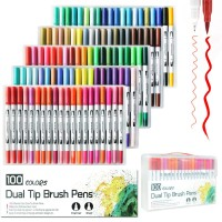 100 Color Dual Tip Brush Pen Marker Set for Sketch Watercolor Calligraphy Coloring Art Manga