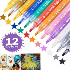 STA 12 Colors Permanent Acrylic Paint Art Marker Pen Set for Glass Fabric Rock Painting