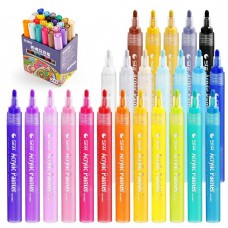 STA Acrylic Paint Marker Pens 24 Colors Art Permanent Markers for DIY Glass, Ceramic, Rock, Wood, Canvas, Metal, Fabric,
